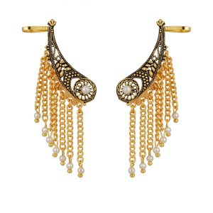 Piah Fashion Stund Ear-cuff Design Pearl Dancing Chain Earrings For Women