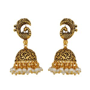 Piah Lovely Peacock Jhumkhi Earrings Pearl Brass Jhumki Earring