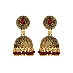 Piah Alluring Antic Black Matel Gold Plating Oxidised With Red Beads Brass Jumkhi Earring For Women