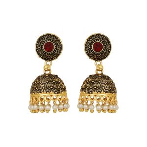 Piah Stylish Antique Boho Vintage Oxidised Gold Statement Pearl Drop Jhumka Jhumki Earrings