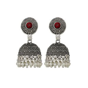 534acb754 Piah Beautiful Oxidised Red stone Silver Plated Jhumka Earrings Brass Jhumki  Earring'(code-9049)