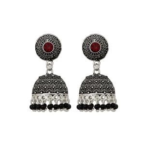 Jewellery - Piah Appeling Red Stone Oxidised Silver Plated Jhumka with Black Beads Earrings Brass Jhumki Earring'(code-9050)