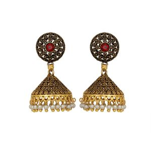 Piahgold Plated Jhumki Earrings With Pearl Danglers Pearl Brass Jhumki Earring