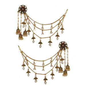 Piah Gold Plated Bahubali Long Chain Jhumki Earrings For Women