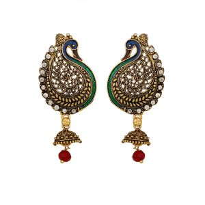 Piah Traditional Gold Plated Peacock Shaped Stone & Meenakari Earrings For Women