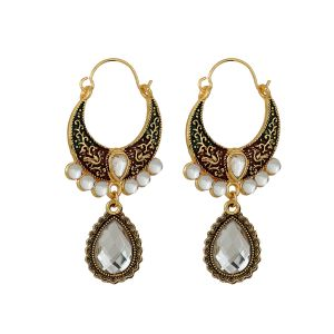 Piah Kundans Chand Bali Pearl Alloy Hoops Earrings For Women