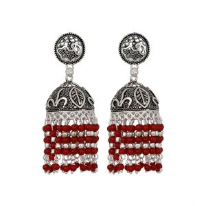 Piah Fashion Foxy Black Silver Oxidised Hanging Red Beads Jumkhi Earrings For Women