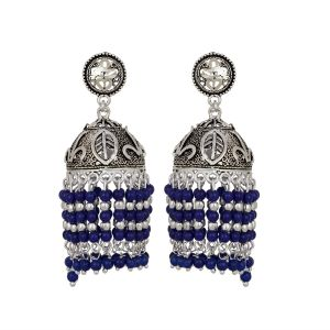 Piah Fashion Foxy Black Silver Oxidised Hanging Blue Beads Jumkhi Earrings For Women