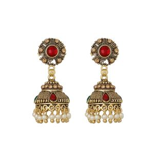 Piah Fashion Traditional Maroon And White Beads Jumkhi Earring For Women
