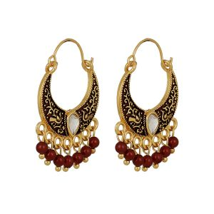 Piah Fashion Refined Enamel Maroon Beads Earrings For Women
