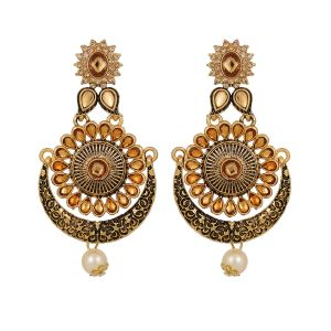 Piah Gold Plated Lct Traditional Indian Bollywood Ethnic Wedding Bridal Kundan And Pearls Statement Chandbali Earrings For Women