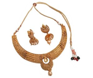 Necklace Sets (Imitation) - Piah fashion Kundan,Beaded & Drop necklace set for Women'(code-9182)