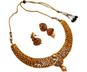 Piah Fashion Choker Elegant Alloy Kundan Drop Necklace Set For Women