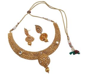 Piah Fashion Choker Elegant Alloy Kundan,beads & Drop Artificial Necklace Set For Women