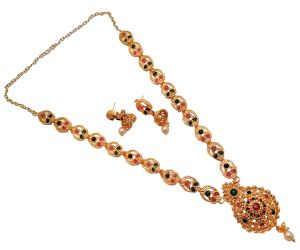 Piah Fashionmulticolour Artificial Gold Plated Long Necklace Set With Earrings For Women