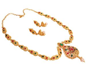 Piah Fashionethnic Traditional Gold Plated Rani Haar Long Haram Mala Necklace Temple Jewellery Set With Earrings For Women