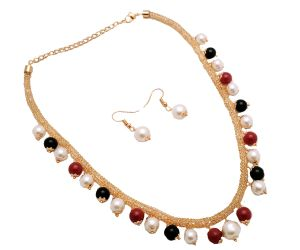 Jewellery - Piah Fashion Italian Style Jali Diamond Multicolour Artificial Necklace set For Women'(code-9202)