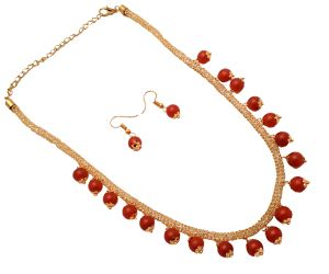 Piah Fashion Italian Style Jali Diamond Maroon Artificial Necklace Set For Women