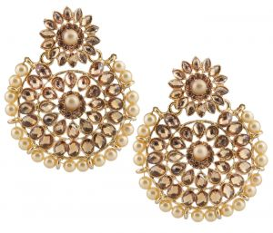 Piah Fashion Gold Plated Kundan With Pearl Outline Dangle & Drop Earrings For Women