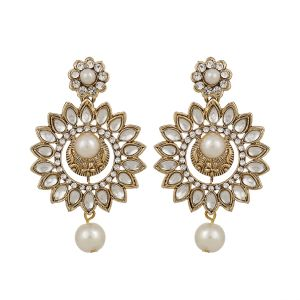 Piah Fashiontraditional Gold Plated Elegantly Handcrafted Kundan & Stone Earrings For Women