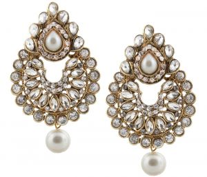 Traditional Gold Plated Elegantly Handcrafted Kundan & Stone Earrings For Women