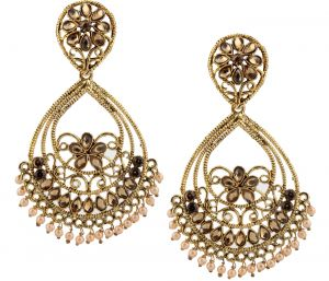 Piah Fashion Floral Shape With Pearl Dropping Fashion Earrings For Women