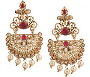 Piah Fashion Gold Plated Full Lct & Pink Earring For Women And Girl