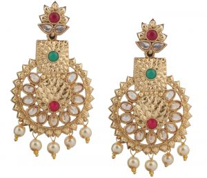Piah Fashion Gold Plated Trendy Green & Pink Color Party Wear Long Designer Dangler Earring For Womens And Girls