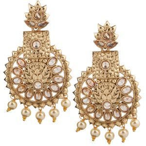 Piah Fashion Gold Plated Drop Earrings With Pearl Border Brass Dangle Earring
