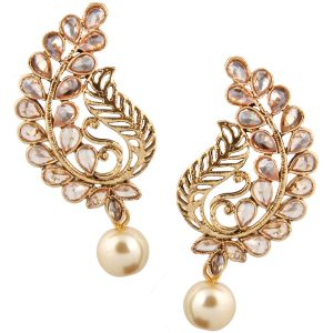 Piah Fashion Gold Plated Tradational With White Pearl Earring For Women And Girl