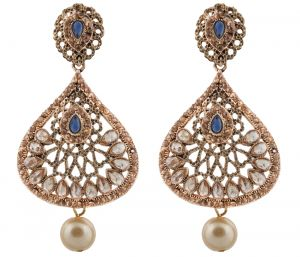 Piah Fashion Fancy Party Wear Designer Long Dangler With Pearl Alloy Fashion Earring Brass Dangle Earring