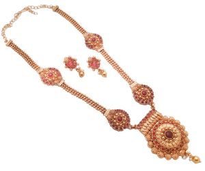 Piah Fashion Resplendent Long Rani Haar Gold Plated Pink Kundan Necklace Set For Women
