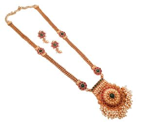 Piah Fashion Gold Plated Alloy Long Rani Haar Necklace Set With Earrings For Women