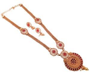 Piah Fashion Resplendent Long Rani Haar Gold Plated Red Kundan Necklace Set For Women