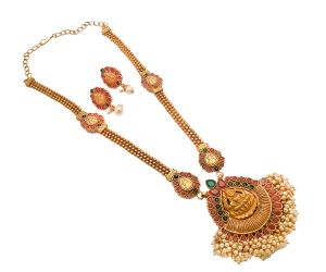 Jewellery - Piah Fashion Magnificent Laxmiji Pink Green Beads with Drop moti Artificial Necklace set For Women'(code-9376)