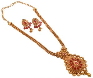 Piah Fashion Enticing Long Three Line Chain Pink Kundan Leaf Necklace Set For Women