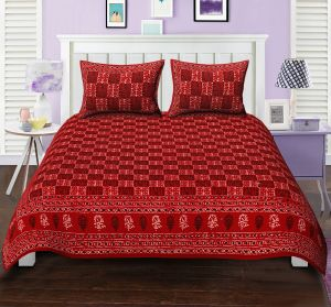 Texstylers Double Bed Sheet Bagru Print Patchwork Red Block Style Design With 2 Pillow Covers( Code - Bg_dbl_13 )