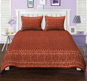 Texstylers Double Bed Sheet Bagru Print Upside Down Booti Orange Block Style Design With 2 Pillow Covers( Code - Bg_dbl_16 )