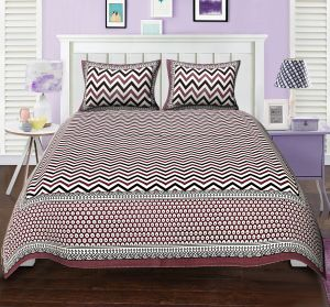Texstylers Elite Zig Zag Geometric Design Maroon Block Style Double Bed Sheet With 2 Pillow Covers - ( Code - El_dbl_34 )
