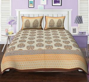 Texstylers Premium 104 Tc Double Bedsheet 100% Cotton Printed Bedsheet For Bedroom With 2 Pillow Covers - ( Code - Pr_dbl_02 )