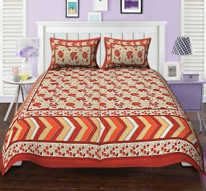 Texstylers Premium 104 Tc Double Bedsheet 100% Cotton Printed Bedsheet For Bedroom With 2 Pillow Covers - ( Code - Pr_dbl_13 )