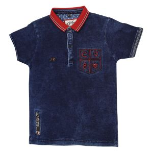 Gusto Blue Denim Polo Neck Regular Fit T_shirt For Boys (code _ 2693_blue)
