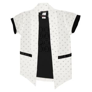 Boys - Gusto Boy's White Poly Cotton Printed Shrug with Inner Tee (Code _2867_WHITE)