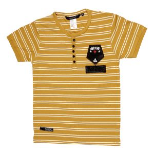 41447a64a4 Gusto Mustard Hosiery Stripes Printed Regular Fit T_Shirt for Boys (Code _  3049_MUSTARD)