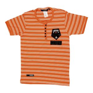 Gusto Rust Hosiery Stripes Printed Regular Fit T_shirt For Boys (code _ 3049_rust)