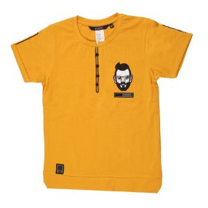 Gusto Mustard Hosiery Round Neck Casual T_shirt For Boys (code _ 3118_mustard)