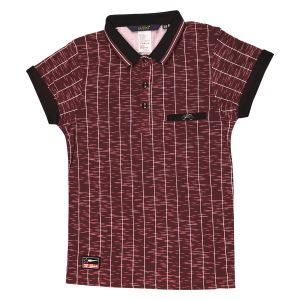 Gusto Maroon Lycra Stripes Printed Casual T_shirt For Boys (code _ 3565_maroon)