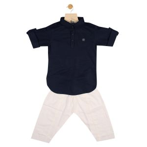 Top & bottom sets - Gusto Baby Boy's Solid Navy Blue Cotton Blend Pathani Suit Set_(Code-GJ160_NAVY)