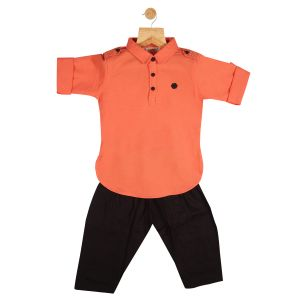 Top & bottom sets - Gusto Baby Boy's Solid Peach Cotton Blend Pathani Suit Set_(Code-GJ160_PEACH)
