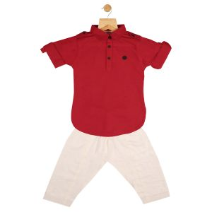 Top & bottom sets - Gusto Baby Boy's Solid Red Cotton Blend Pathani Suit Set_(Code-GJ160_RED)